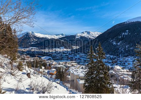 Aerial View Of Davos In Winter