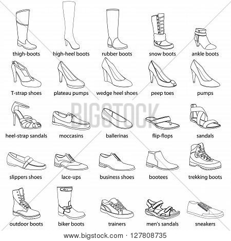 Footwear, names. Men's and women's footwear. Silhouette footwear set, realistic footwear. Footwear with names. Boots, shoes, sandals, sport footwear. Footwear outlines with names.