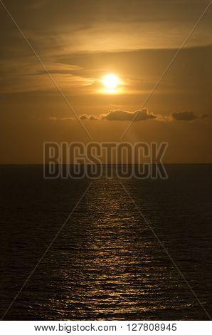 The sun approachs the horizion off CozumelMexcio in the Carribean Sea