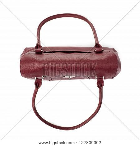Vinous leather Female bag isolated over the white background