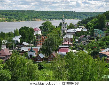 Landscape of small russian city Ples near Volga river..
