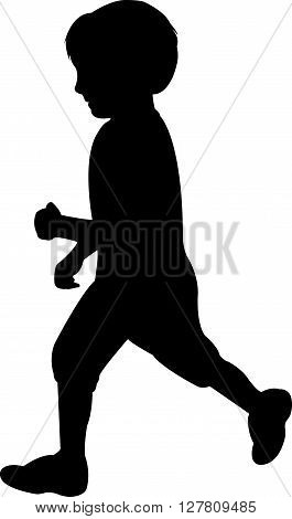 a boy body black color silhouette vector