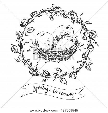 Hand drawn easter greeting card. Willow branch and leaves wreath with bird nest and eggs. RIbbon with spring hand lettering.