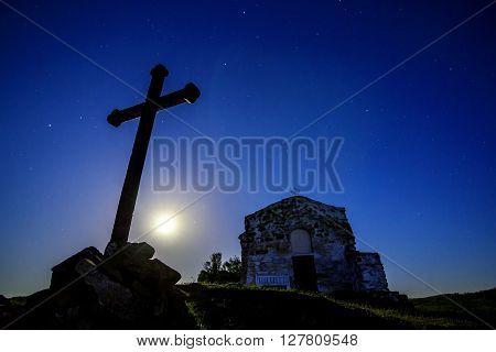 Chapel of moonlight and beautiful sky stars
