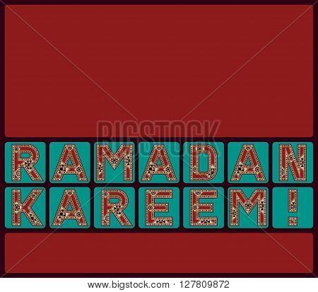 Ramadan Kareem English Typography Tiles Greeting Card