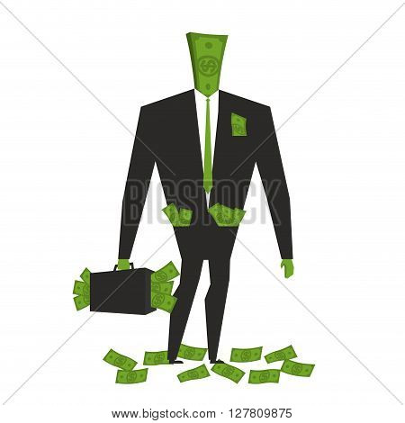 Money Man. Dollar  Monster. Human Wite Cash. Bundle Of Dollars. Businessman Rich. Case With Money.