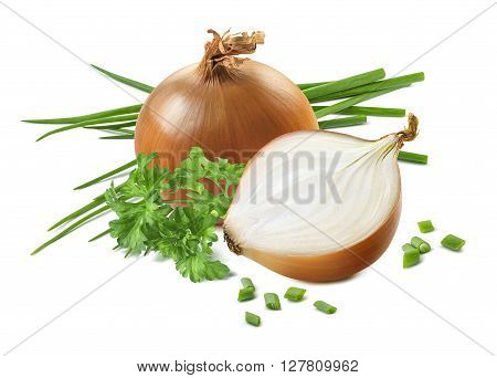 Yellow green spring onion scallion parsley cut composition isolated on white background as package design element