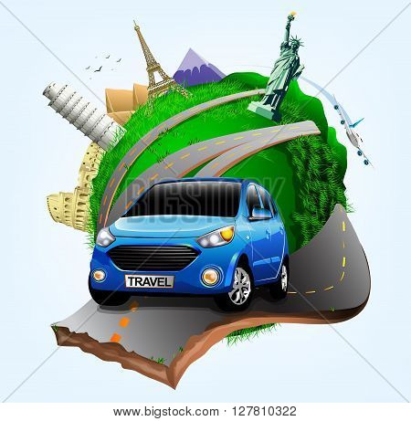 Vector Small Green Planet with Blue Travel Car together with Plane and World's Famous Landmarks