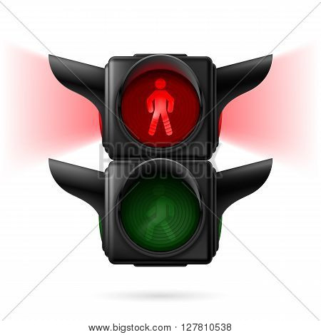 Realistic pedestrian traffic lights with red lamp on and sidelight. Illustration on white background