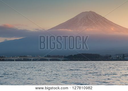 View of Mount Fuji from Kawaguchiko lake, Japan