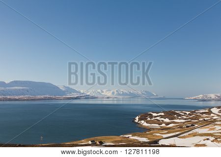 Iceland winter landscape natural background late March