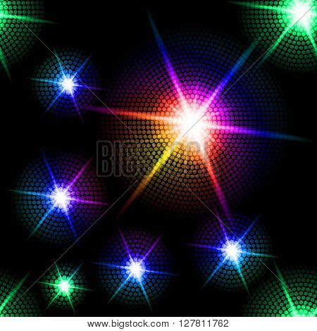 Abstract sparkling background with multicolored starburst in the dark
