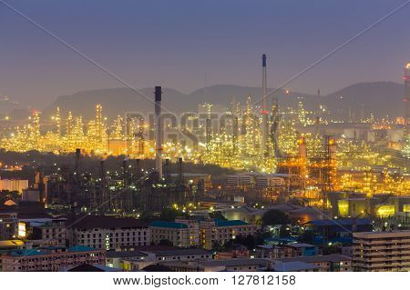 Petrochemical power plant at night  East of Thailand