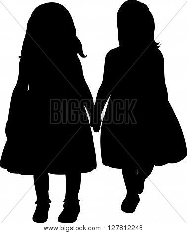 two children hand in hand, silhouette vector