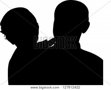 father and son together, silhouette vector artwork
