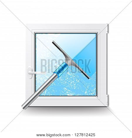 Window cleaning isolated on white photo-realistic vector illustration