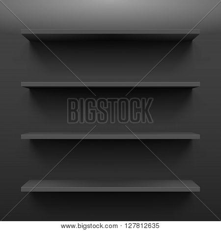 Gorizontal black bookshelves on the dark wall