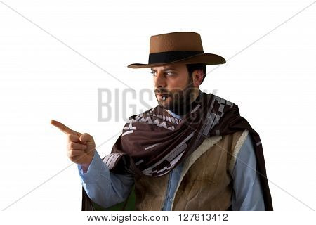 Gunfighter Pointing On White Background.