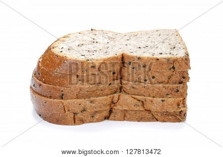 slice of bread sesame bread isolated on white background.