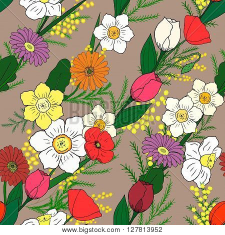 Seamless pattern with hand-drawn flowers. Warm Taupe background