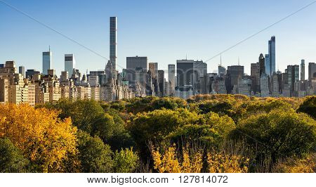 Panoramic view from above of Central Park trees with full fall colors. On the right, high-rise buildings of the Upper East Side. In the distance are skyscrapers of Midtown Manhattan, New York City