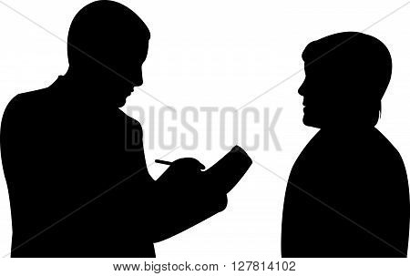interview, two body black color silhouette vector