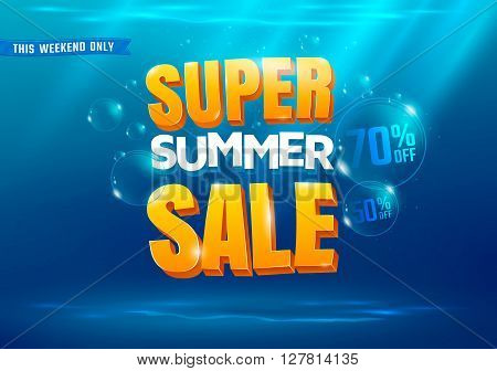 Super summer sale poster with sea background.