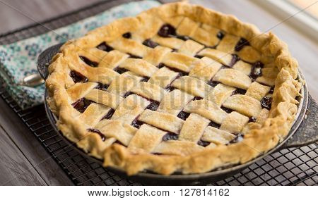 Triple Berry home made pie cooling by windo