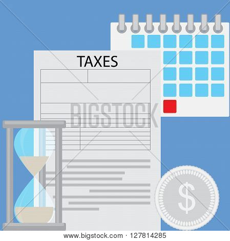 Business concept tax day. Deadline tax day payment business investment finance taxation counting Vector flat design illustration