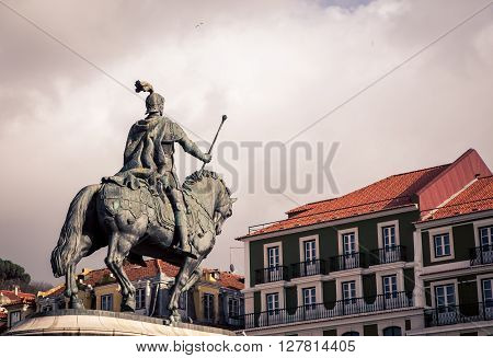 Rider and horse statue in Lisbon Portugal