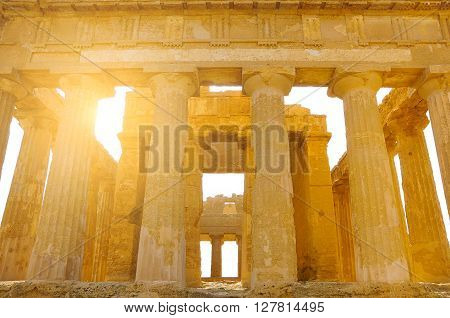 Ancient Greek temple in the Valley of the Temples. Agrigento. Sicily. Italy.