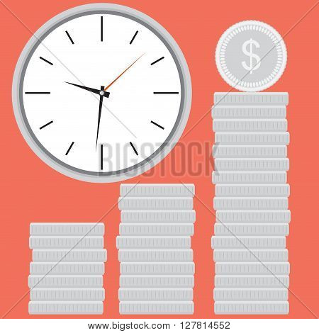 Clock with silver coin stock. Time is money. Time finance money and stock coin investment financial banking market. Vector flat design illustration