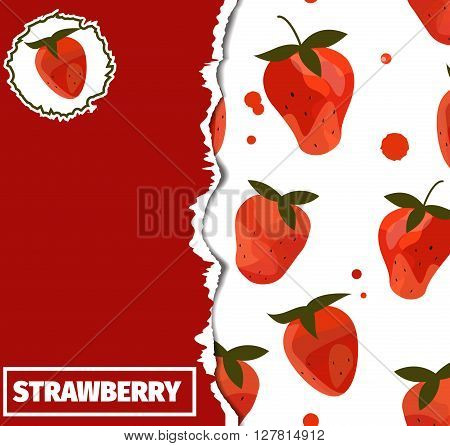 Ripped background made with red strawberries. Textbook cover. Vector fruits background