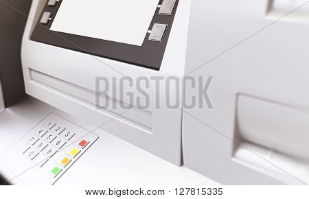 Closeup of ATM machine with blank display. Sideview Mock up 3D Rendering