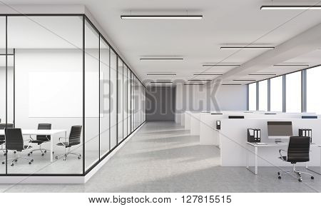Concrete office interior with blank whiteboard. 3D Rendering