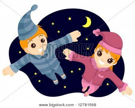 Flying Kids in PJs - Vector