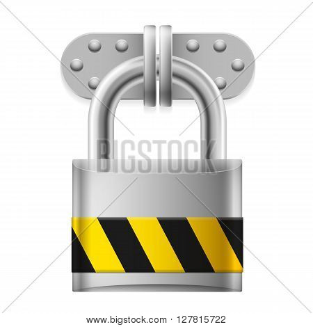 Metal padlock with yellow and black striped sign on white