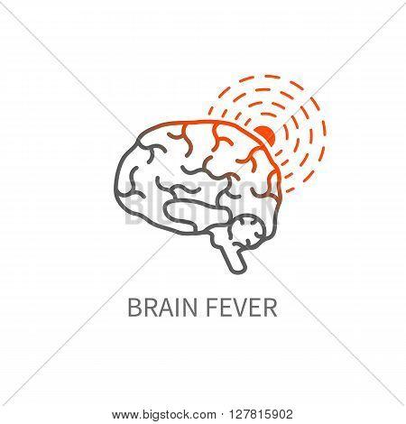 Brain fever line icon. Headache vector illustration.