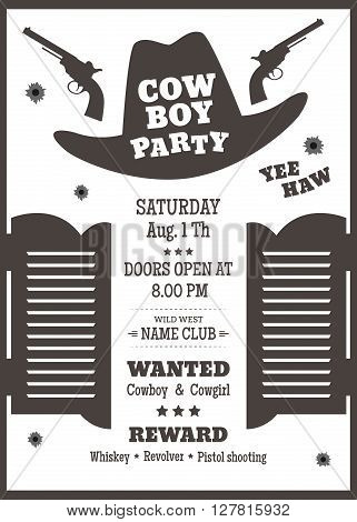 Cowboy party poster or invitation in western style. Cowboy hat silhouette with text. Vector illustration