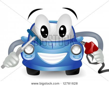Car Filling Up Gas Tank & Cleaning Windshield - Vector