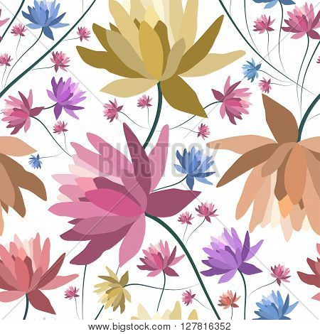 Floral patten with lotus flowers.Seamless vector textile print.Colorful textile texture