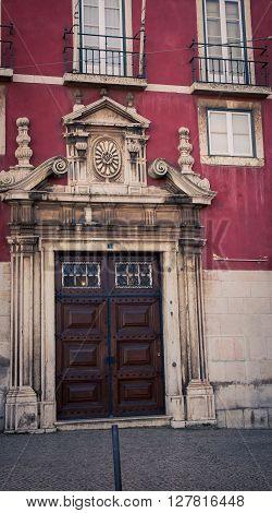 Ornate door frame in the city of lisbon