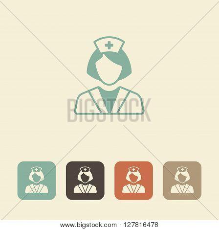 Health care worker icon. Nurse vector illustration