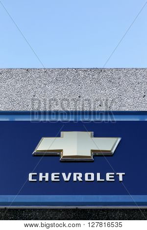 Aarhus, Denmark - January 17, 2016: Chevrolet logo on a wall. Chevrolet is an American automobile division of the American manufacturer General Motors. Chevrolet-branded vehicles are sold in most automotive markets worldwide
