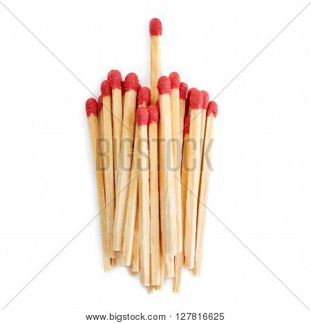 Pile of Wooden unused matches isolated over the white background, as chosen one concept