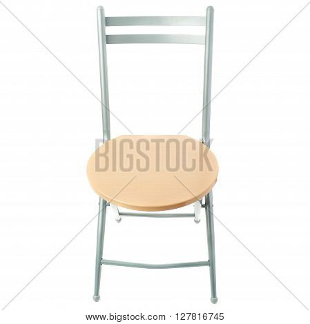 Folding chair with wooden seat over isolated white background