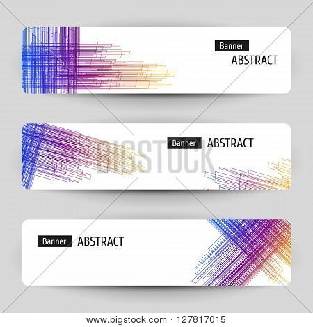 Banner set with abstract linear design. For technology business event design. Geometric hatching elements. Vector illustration.