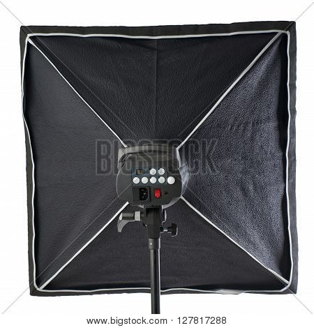 Pulse studio flash with square softbox on a stand over isolated white background
