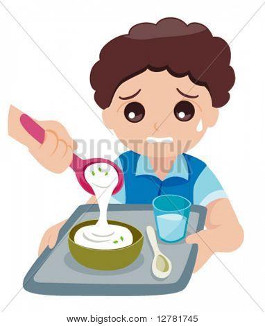 Kid Hating Canteen Food - Vector