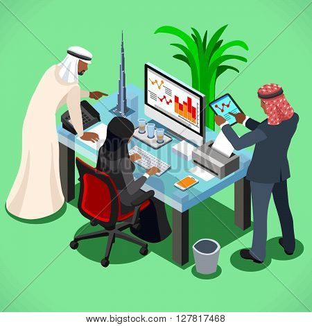 Arabic businessman bright modern office room. Arabic business meeting concept. 3D flat isometric vector illustration